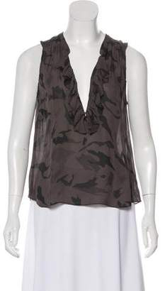 L'Agence Splatter Army Print Top