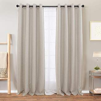 BEIGE Curtains Linen Textured for Living Room Drapes for Bedroom 84 inches Long Light Reducing Window Treatment Set 2 Panels Grommet Top