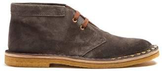 Prada - Stud Embellished Suede Desert Boots - Mens - Grey Multi