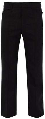 Saint Laurent Flared Wool Jacquard Trousers - Mens - Black