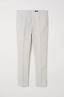 H&M Slim Fit Linen Suit Pants - White