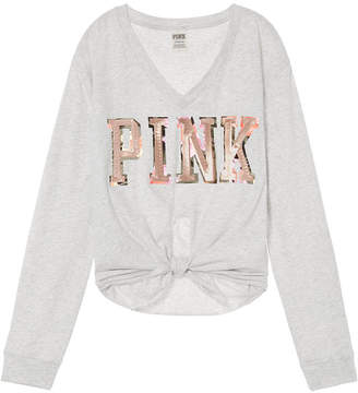 PINK Bling Knotted Long Sleeve Tee