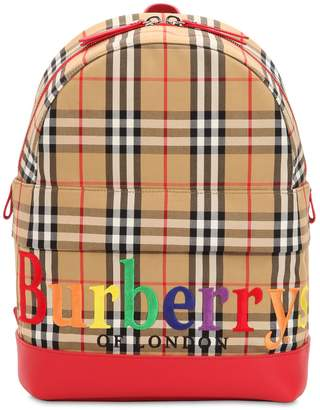 Burberry Embroidered Logo Cotton Canvas Backpack