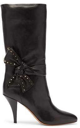 Valentino Bow Embellished Leather Boots - Womens - Black