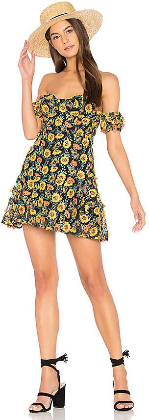 For Love & Lemons Amelia Strapless Mini Dress in Yellow 2