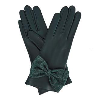Gizelle Renee - Josephine Green Leather Gloves With Green Tweed