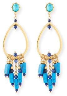 Sequin Turquoise Chandelier Earrings