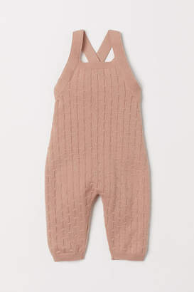 H&M Pattern-knit Bib Overalls - Orange