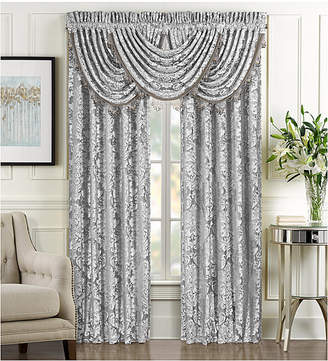 "J Queen New York Bel Air Tufted-Chenille Silver 33"" x 49"" Waterfall Window Valance"