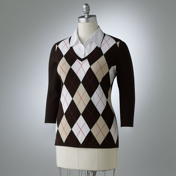 Croft & Barrow® Mock-Layer Argyle Sweater