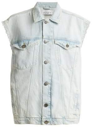 Raey Cut Off Denim Jacket - Womens - Blue White