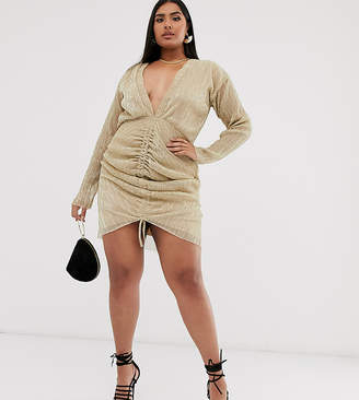 PrettyLittleThing Plus Plus plunge mini dress with ruched detail in gold