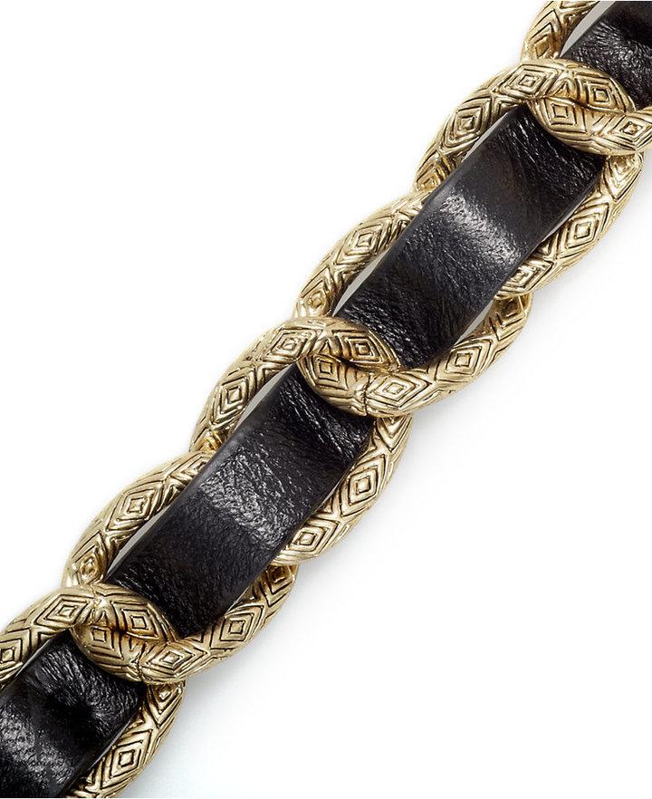 House Of Harlow Bracelet, Gold-Tone Black Leather Link Bracelet