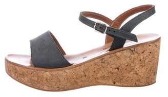 K Jacques St Tropez Leather Round-Toe Wedges