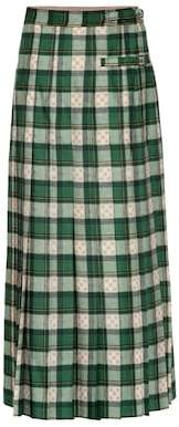 Gucci Tartan GG wool pleated skirt