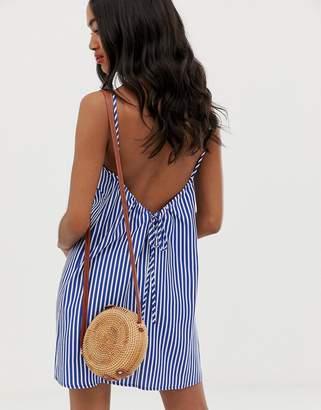 Asos Design DESIGN scoop back shift mini sundress in stripe