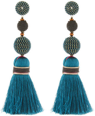 Nakamol Mixed Bead & Tassel Drop Earrings