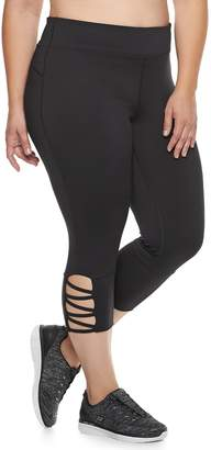 Tek Gear Plus Size Performance Pieced Mesh Midrise Capri Leggings
