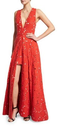 Alice + Olivia Francis Sleeveless V-Neck Flared Lace Gown $1,298 thestylecure.com