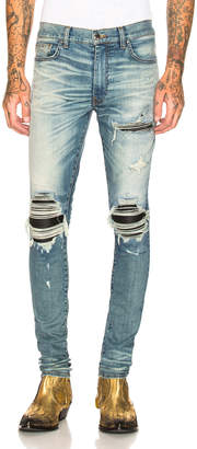 Amiri MX1 Leather Patch Skinny Jeans