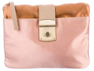 By Malene Birger Leather-Trimmed Satin Clutch