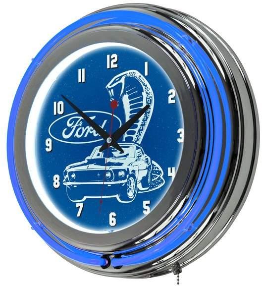 Trademark Gameroom Ford Chrome Double Rung Neon Clock