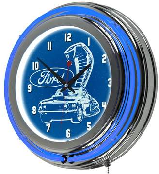 Trademark Gameroom Ford Chrome Double Rung Neon Clock