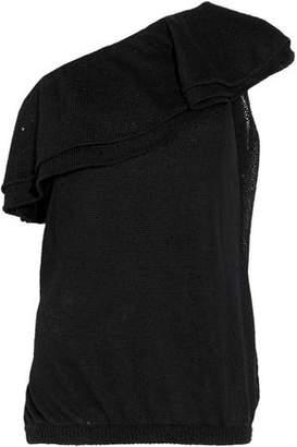 Brunello Cucinelli One-Shoulder Embellished Linen And Silk-Blend Top