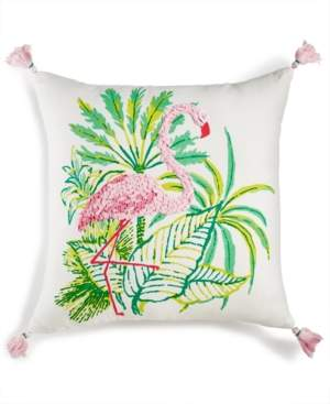 """Martha Stewart Closeout! Whim by Collection Flirty Flamingo Graphic-Print 18"""" Square Decorative Pillow, Created for Macy's Bedding"""