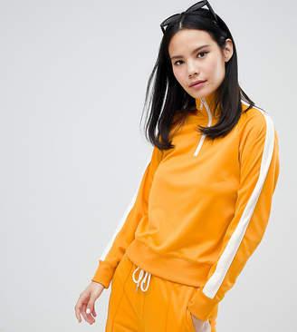 Monki side stripe zip up sweatshirt in mustard