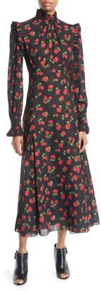 Michael Kors Mock-Neck Long-Sleeve Rose-Print Bias-Ruffle Silk Chiffon Long Dress