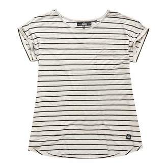 Ecru/Black stripe Scoop Hem T-Shirt