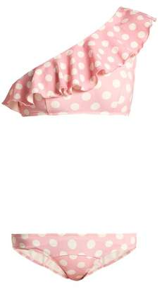 Lisa Marie Fernandez - Arden Polka Dot One Shoulder Bikini - Womens - Pink Multi