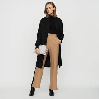 Maje Straight coat with thin stripes