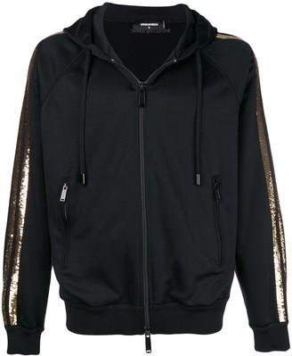 DSQUARED2 sequin striped zip-up hoodie