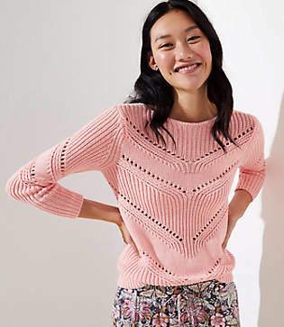 LOFT Pointelle Scoop Back Sweater