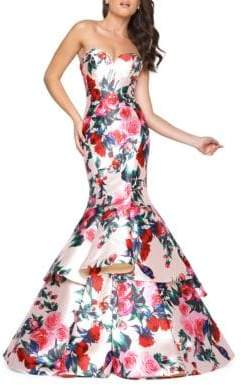 Mac Duggal Floral-Print Mermaid Gown