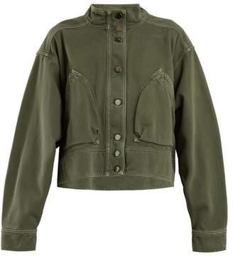 Valentino - Patch Pocket Denim Cropped Jacket - Womens - Dark Green