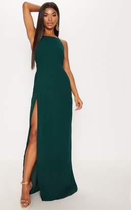 PrettyLittleThing Green Strappy Back Detail Chiffon Maxi Dress