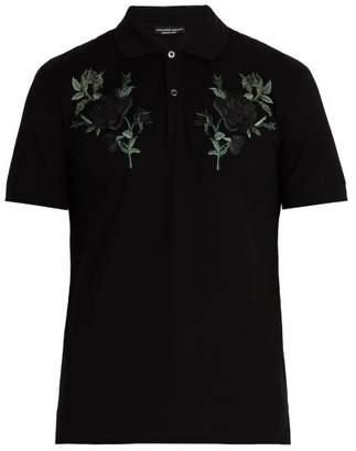Alexander McQueen Floral Embroidered Cotton Pique Polo Shirt - Mens - Black