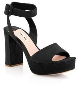 Miu MiuMiu Miu Suede Ankle-Strap Platform Sandals