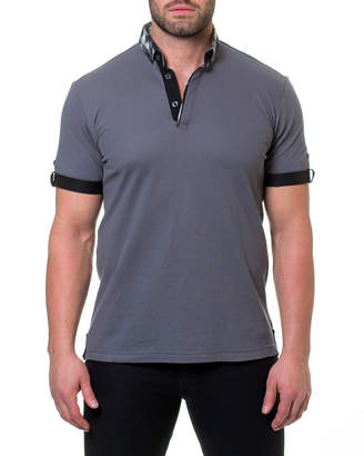 Maceoo Geometric-Cuff Polo S Shirt, Gray