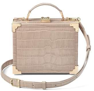 Aspinal of London Mini Trunk Clutch In Deep Shine Soft Taupe Croc