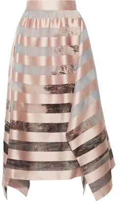 Fendi - Asymmetric Striped Satin And Printed Organza Midi Skirt - Pastel pink $1,990 thestylecure.com