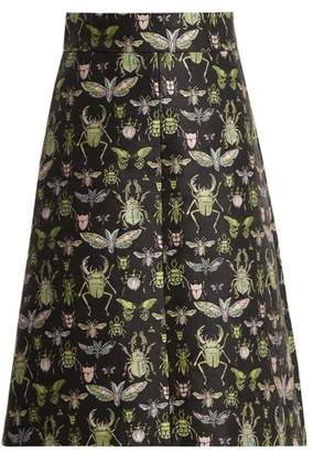 RED Valentino Bug Jacquard High Rise A Line Skirt - Womens - Black Multi