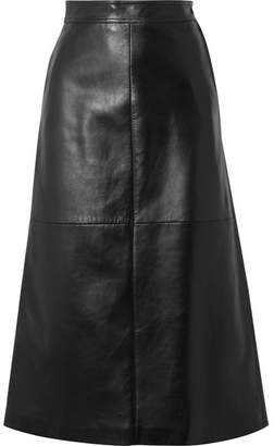 Saint Laurent Leather Midi Skirt - Black