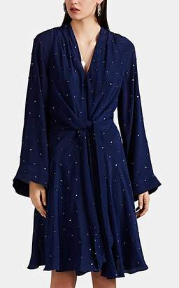 Azeeza Women's Lorelai Embellished Silk Wrap Dress - Navy