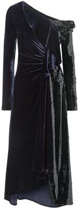 Monse One-shoulder Ruched Velvet And Sequined Tulle Gown