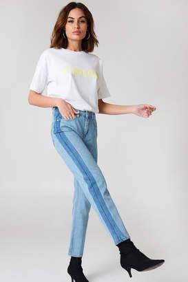 NA-KD Na Kd Side Panel Jeans Light Blue