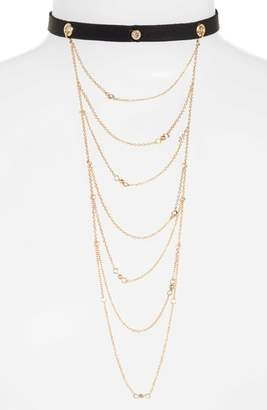 Ettika Layered Chain & Leather Choker